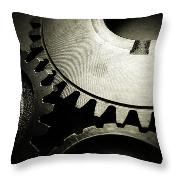 Cogs Throw Pillow by Les Cunliffe