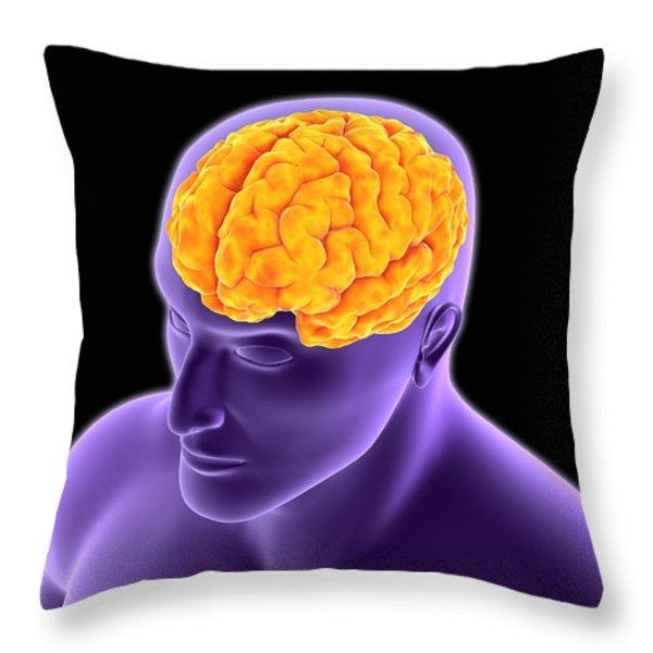 Conceptual Image Of Human Brain Throw Pillow by Stocktrek Images