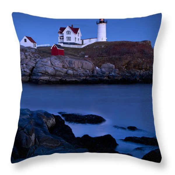 Nubble Lighthouse Throw Pillow by Brian Jannsen