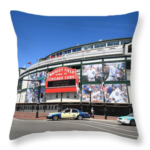 Wrigley Field - Chicago Cubs  Throw Pillow by Frank Romeo