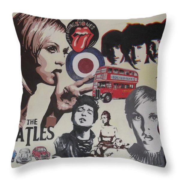 60's Montage Throw Pillow by Cherise Foster
