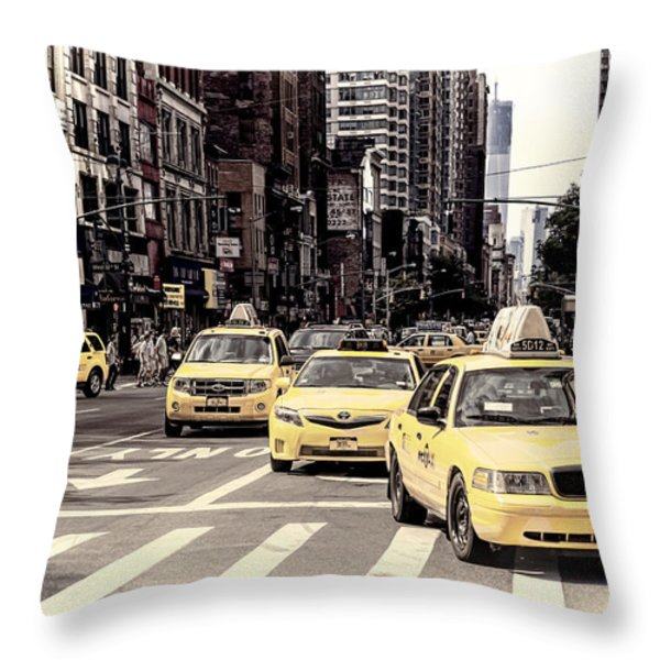 6th Avenue Nyc Yellow Cabs Throw Pillow by Melanie Viola