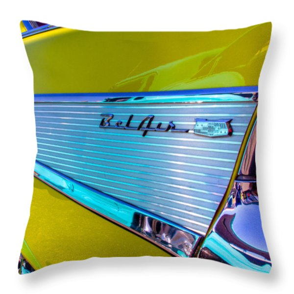 1957 Chevy Bel Air Custom Hot Rod Throw Pillow by David Patterson