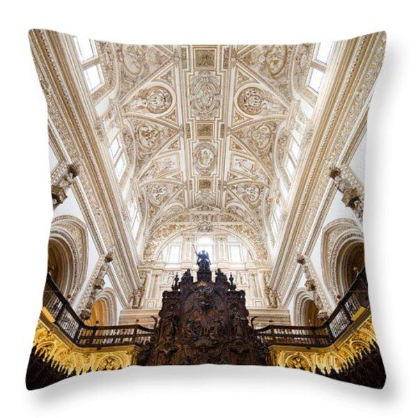 Mezquita Cathedral Interior in Cordoba Throw Pillow by Artur Bogacki