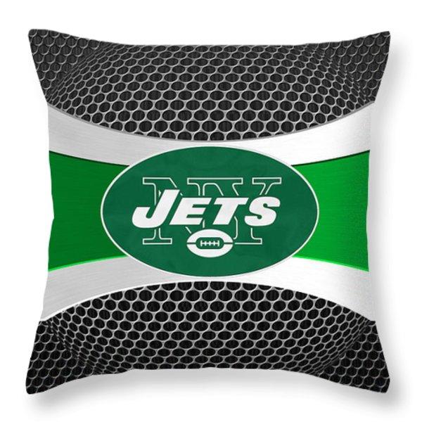 NEW YORK JETS Throw Pillow by Joe Hamilton