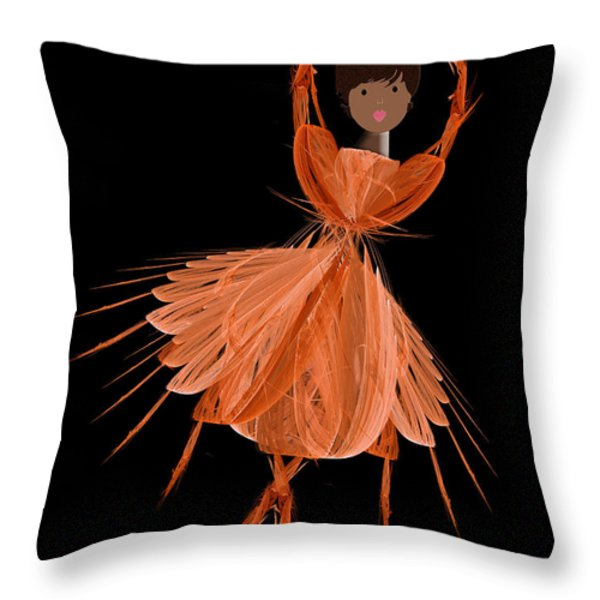 7 Orange Ballerina Throw Pillow by Andee Design