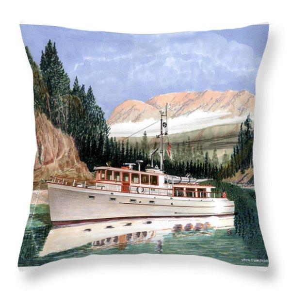 75 foot classic bridgrdeck yacht Throw Pillow by Jack Pumphrey