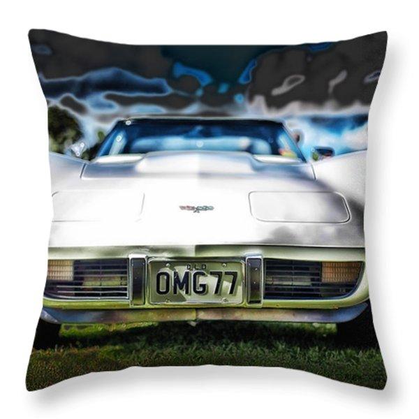 77 Corvette Throw Pillow by Mountain Dreams