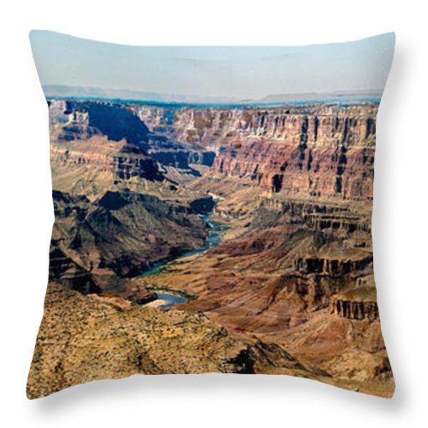 8-image Panorama Grand Canyon Desertview Throw Pillow by Bob and Nadine Johnston