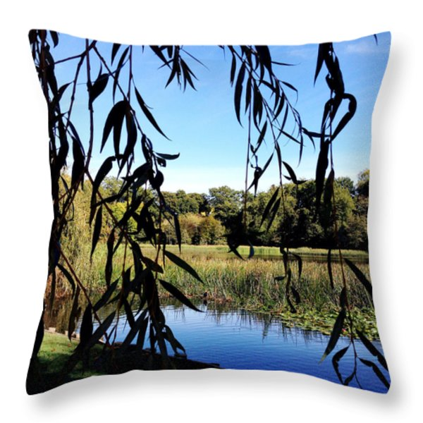 Leaves Throw Pillow by Les Cunliffe