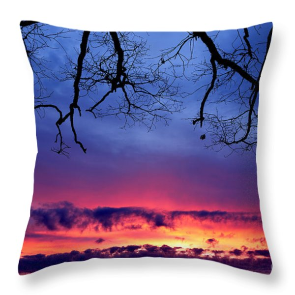 Red Sky At Morning Throw Pillow by Thomas R Fletcher