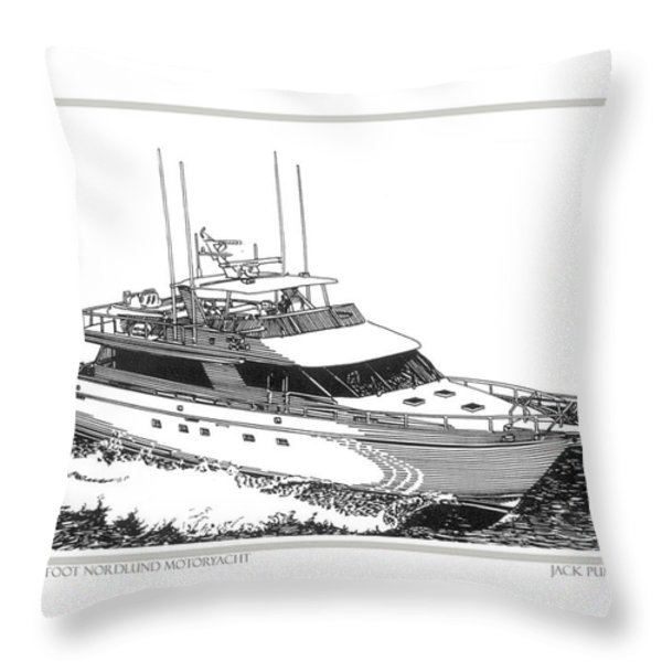 85 foot Custom Nordlund Motoryacht Throw Pillow by Jack Pumphrey
