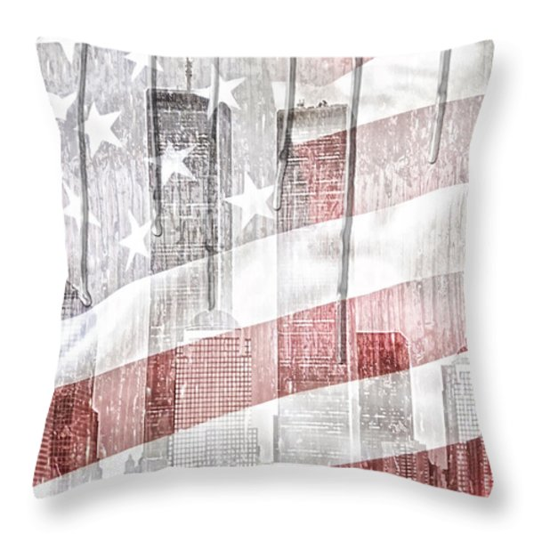 9 11 Throw Pillow by Mo T