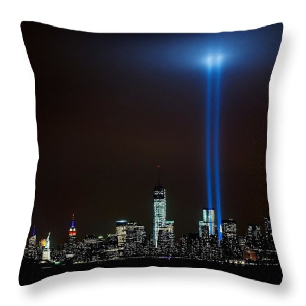 9/11 Tribute Throw Pillow by Nick Zelinsky