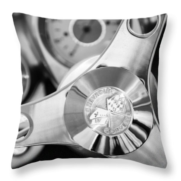 1960 Chevrolet Corvette Steering Wheel Emblem Throw Pillow by Jill Reger