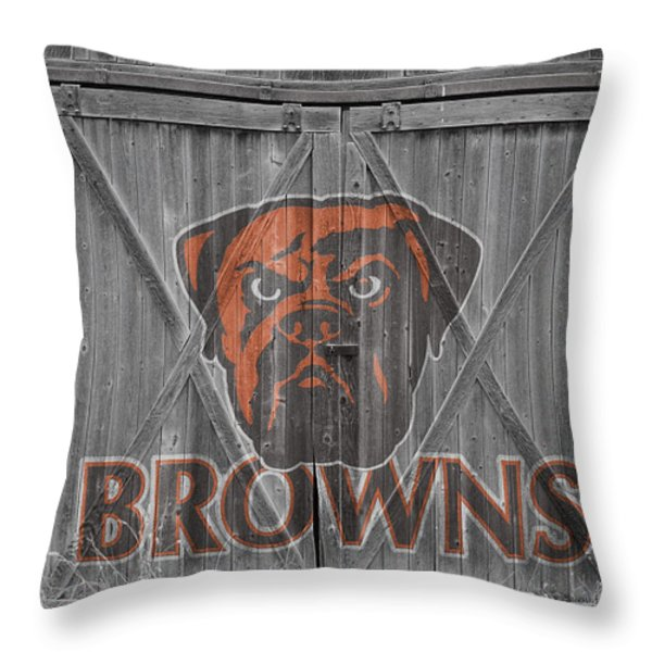 Cleveland Browns Throw Pillow by Joe Hamilton