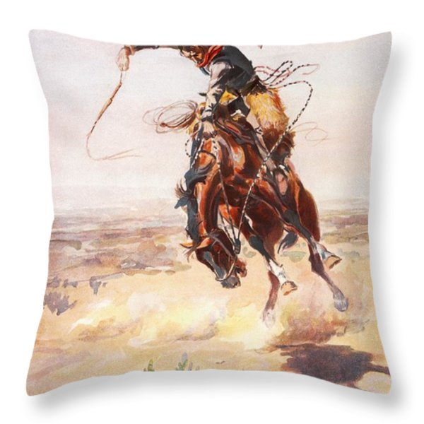 A Bad Hoss Throw Pillow by Charles Russell