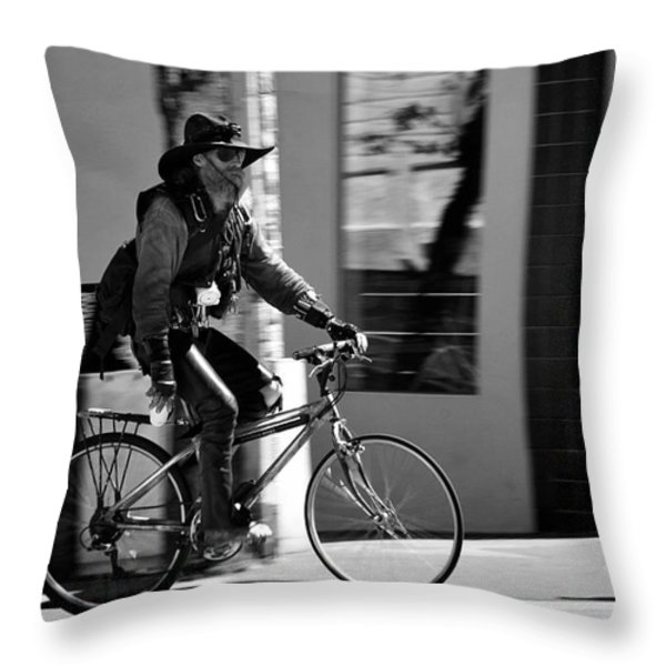 A barefoot cyclist with beard and hat in San Francisco Throw Pillow by RicardMN Photography