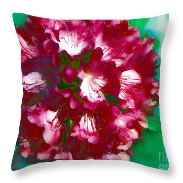 A Beautiful Rhododendron Throw Pillow by Annie Zeno