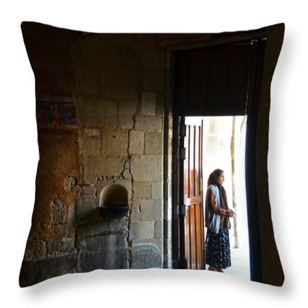 A Beggar At The Door Of A Church Throw Pillow by RicardMN Photography