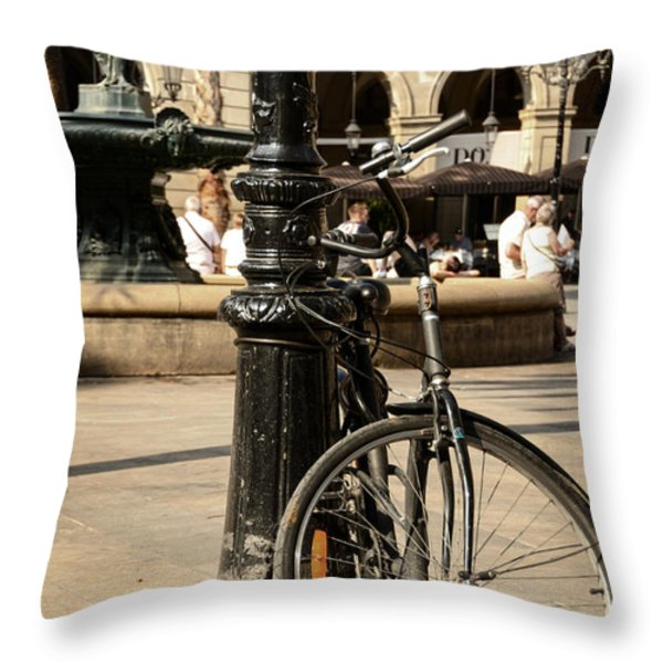 A Bicycle At Plaza Real Throw Pillow by RicardMN Photography