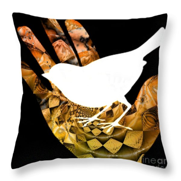 A Bird In The Hand Is Worth Two In The Bush  Throw Pillow by Elizabeth McTaggart