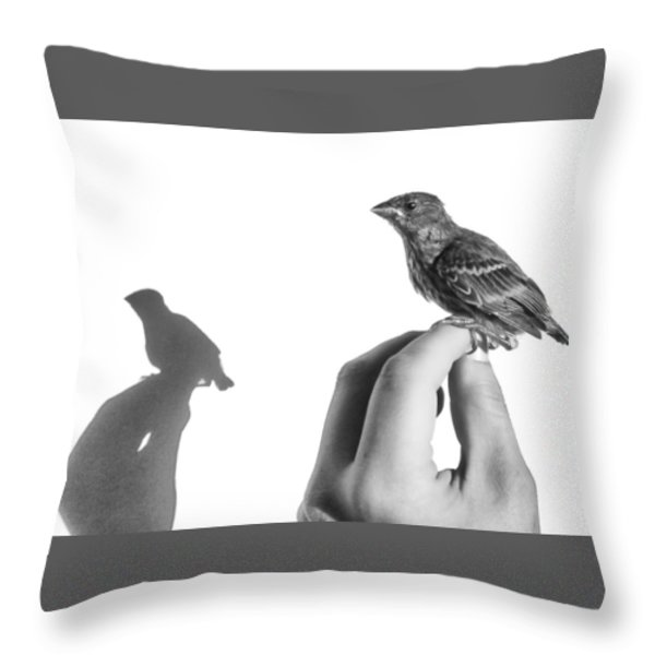 A Bird On The Hand Throw Pillow by Caitlyn  Grasso