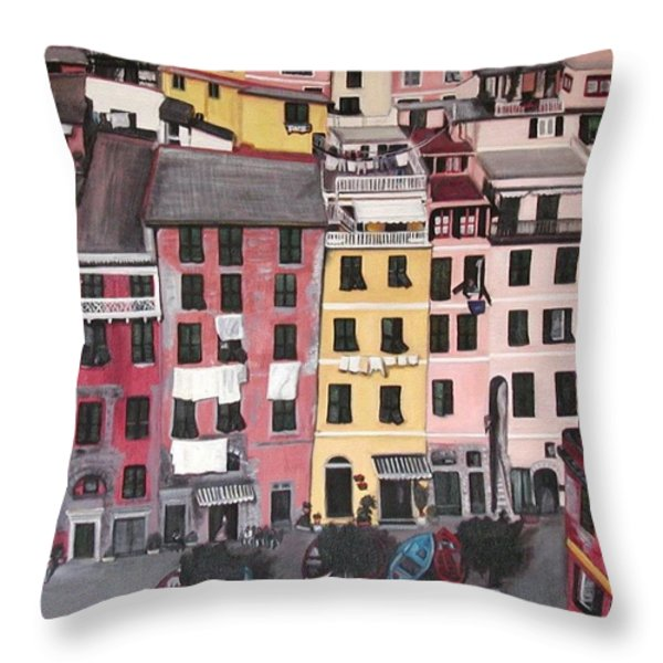 A Bird's Eye View Of Cinque Terre Throw Pillow by Quin Sweetman