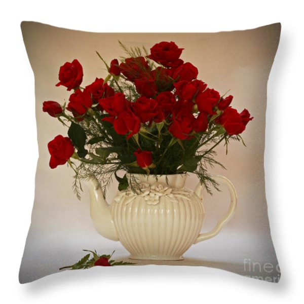 A Bouquet Of Red Rose Tea Throw Pillow by Inspired Nature Photography By Shelley Myke