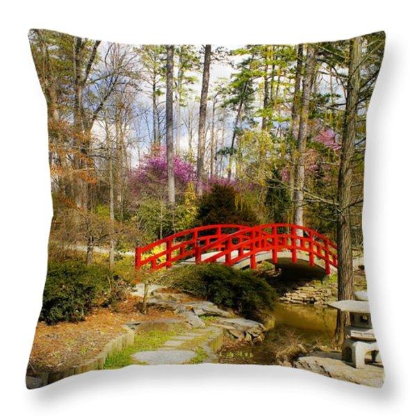 A Bridge To Spring Throw Pillow by Benanne Stiens