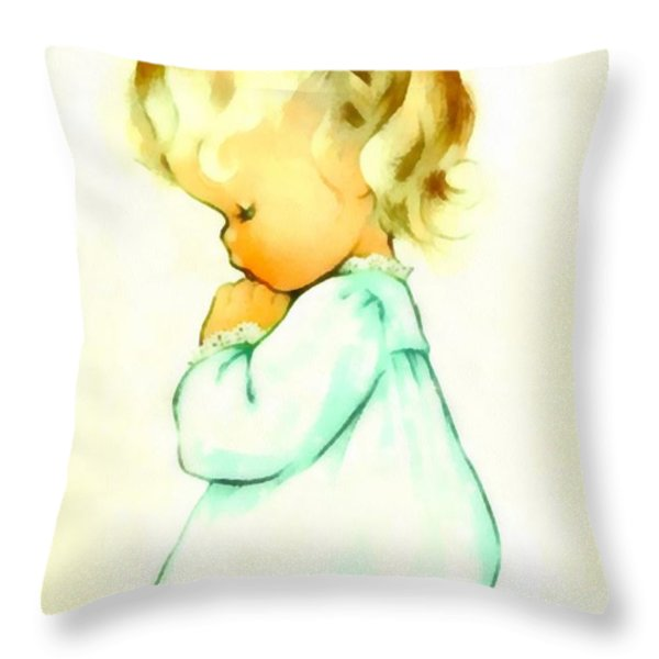 A Childs Prayer Throw Pillow by Charlotte Byj