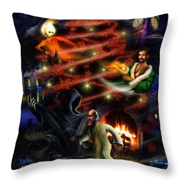 A Christmas Carol Throw Pillow by Alessandro Della Pietra