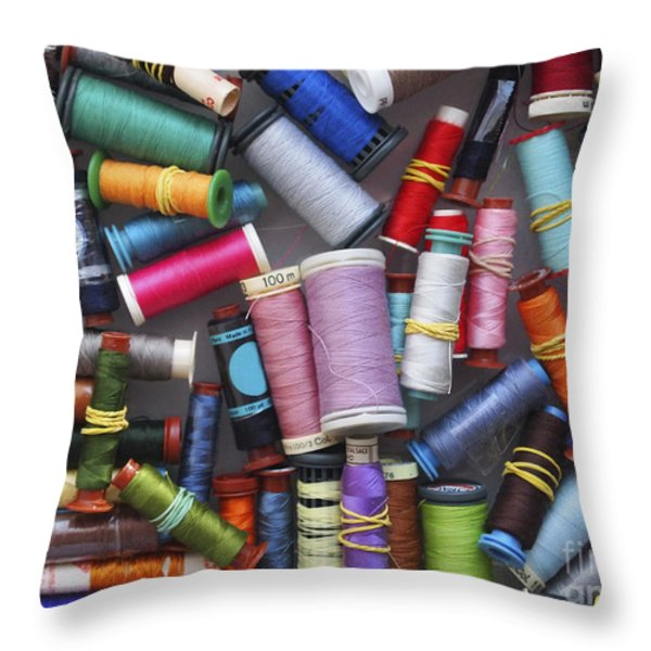 A Close View Of Threads Throw Pillow by Bernard Jaubert