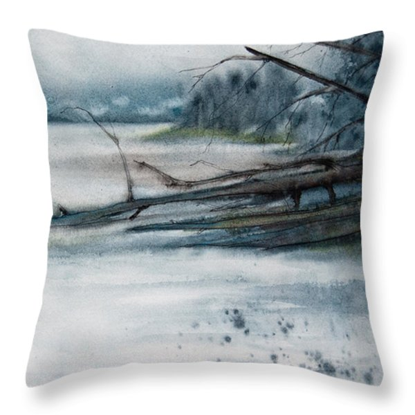 A Cold And Foggy View Throw Pillow by Jani Freimann