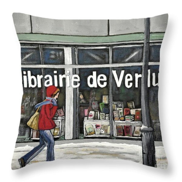 A Cold Day In Verdun  Librairie De Verdun Throw Pillow by Reb Frost