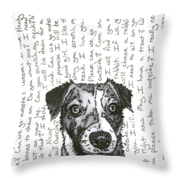 A Conversation With A Jack Russell Terrier Throw Pillow by Salvadore Delvisco