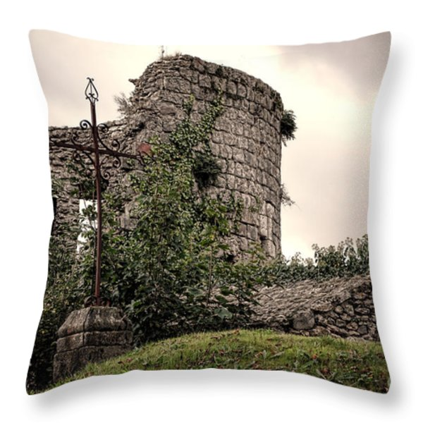 A Cross in the Ruins Throw Pillow by Olivier Le Queinec