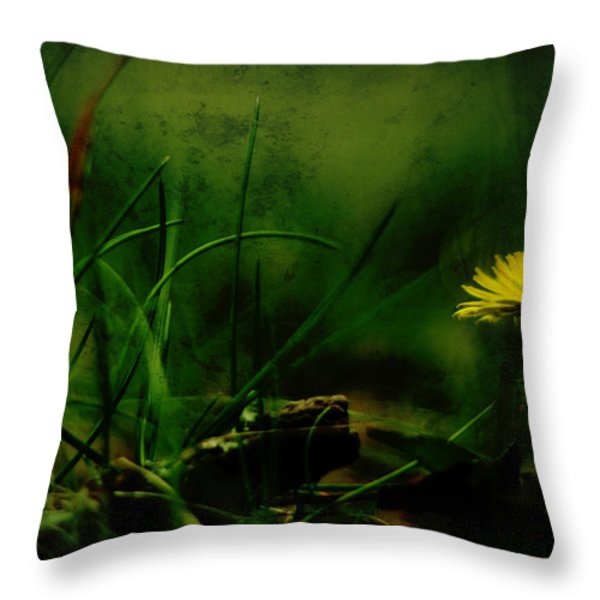A Darkness Befalls The Dandelion Throw Pillow by Rebecca Sherman