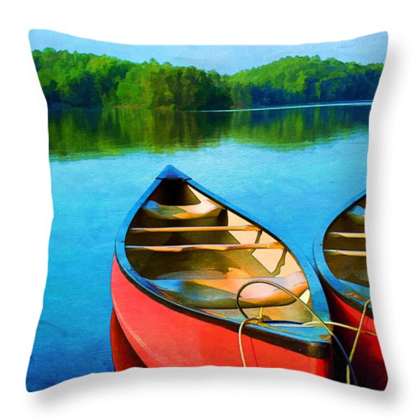 A Day on the Lake Throw Pillow by Darren Fisher