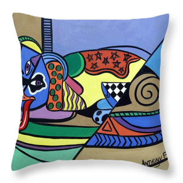 A Dog Named Picasso Throw Pillow by Anthony Falbo