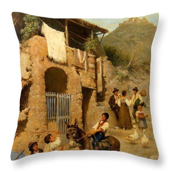 A Donkeys Reward Throw Pillow by Francesco Bergamini