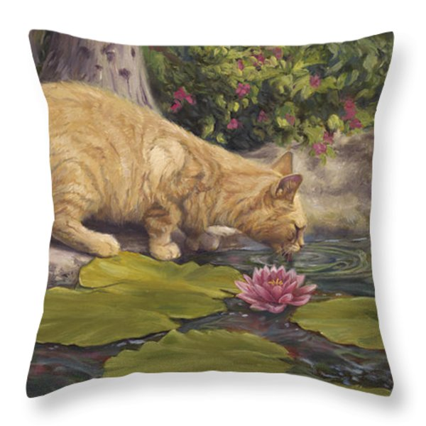 A Drink At The Pond Throw Pillow by Lucie Bilodeau