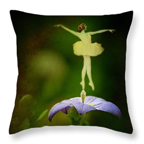 A Fairy in the Garden Throw Pillow by Rebecca Sherman