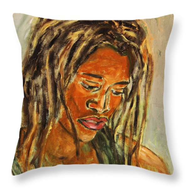 A Female Sax Player Throw Pillow by Xueling Zou