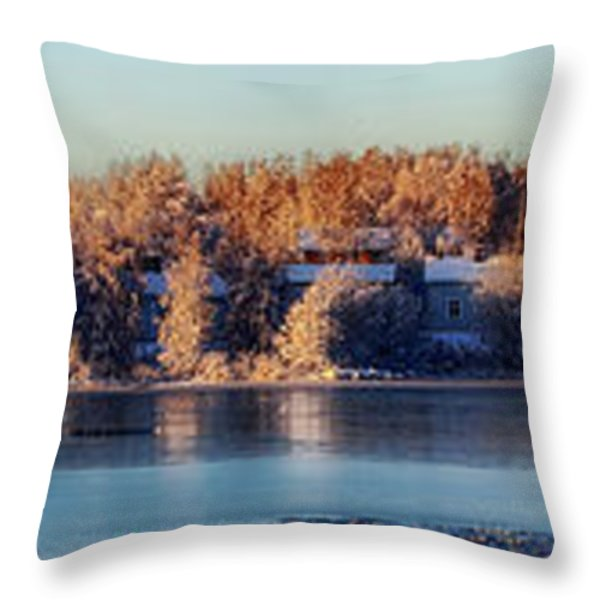 A Finland Winter Panorama Throw Pillow by Mountain Dreams
