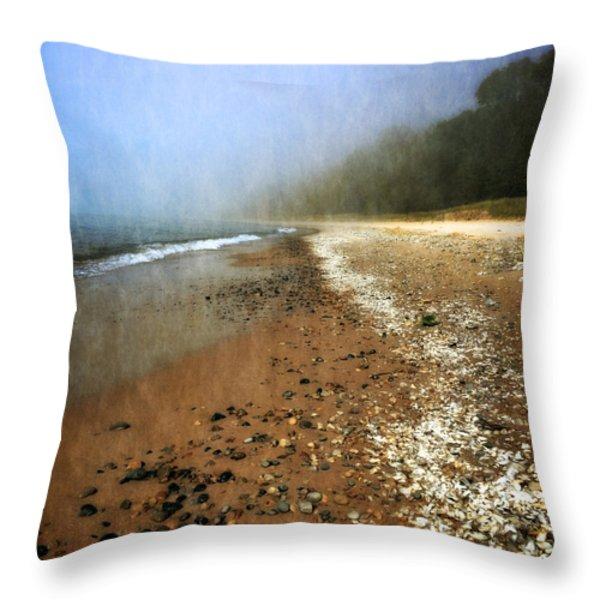 A Foggy Day At Pier Cove Beach 2.0 Throw Pillow by Michelle Calkins