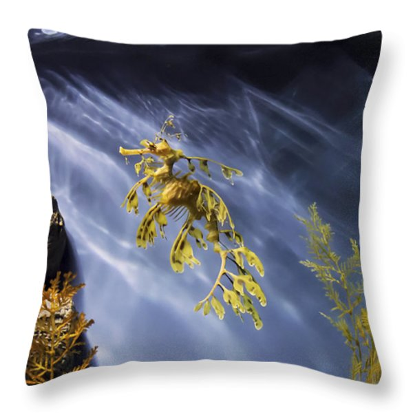 A Funny Seahorse--leafy Seadragon Throw Pillow by Angela A Stanton
