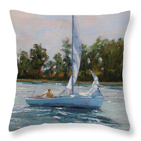 A Gift of Memories Two on Rhodes 19 Throw Pillow by Laura Lee Zanghetti
