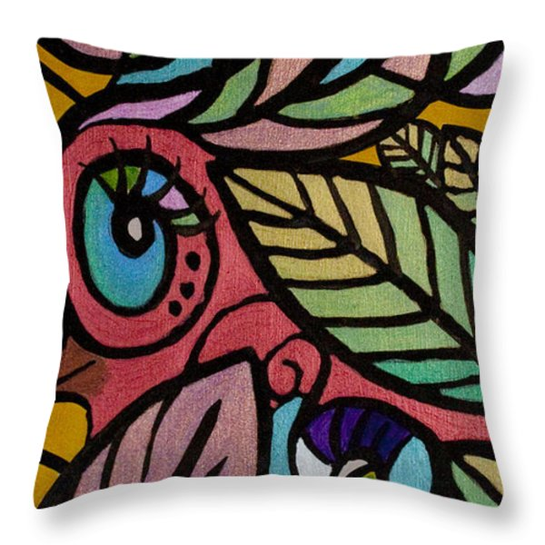 A Girl And Her Bird Throw Pillow by Jaime Haney