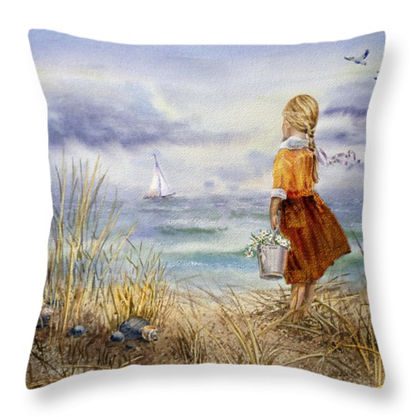 A Girl And The Ocean Throw Pillow by Irina Sztukowski